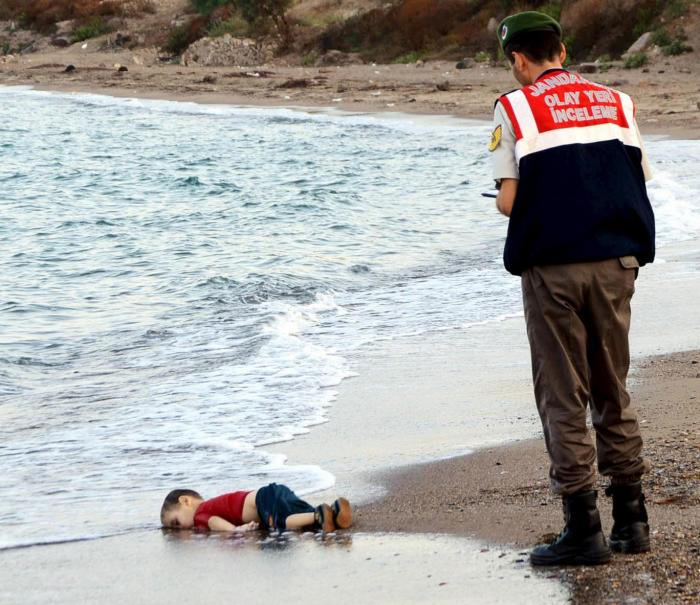 drowned infant on Turkish beach