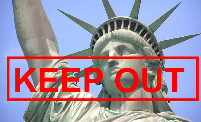 Statue of liberty with KEEP OUT in red